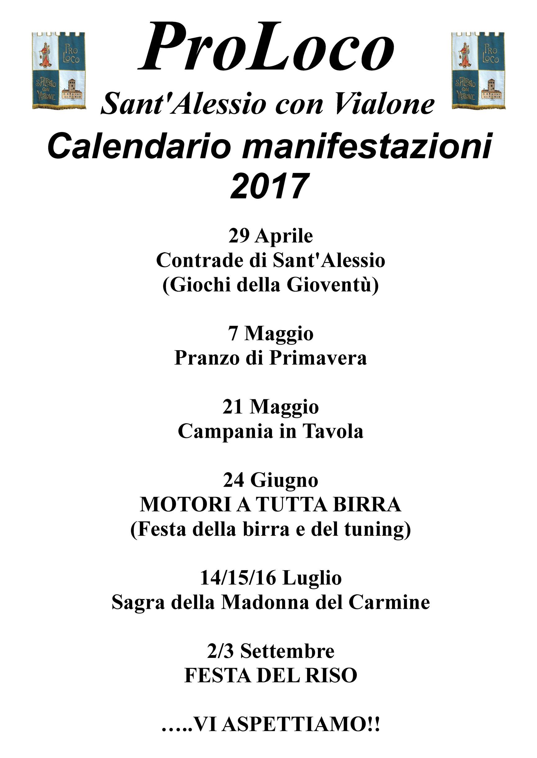 Calendario eventi 2017
